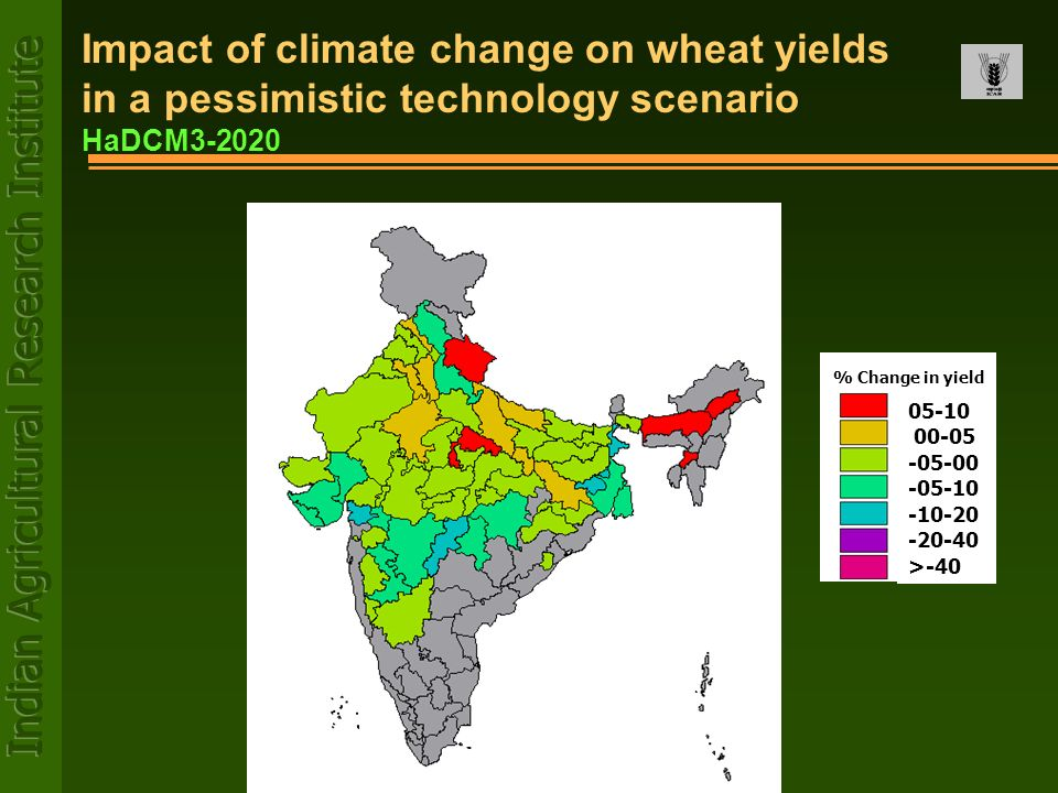 05-10 00-05 -05-00 -05-10 -10-20 -20-40 >-40 % Change in yield Impact of climate change on wheat yields in a pessimistic technology scenario HaDCM3-20