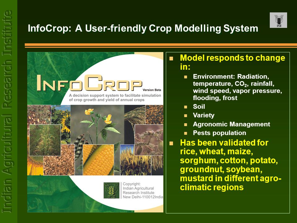 InfoCrop: A User-friendly Crop Modelling System n Model responds to change in: n Environment: Radiation, temperature, CO 2, rainfall, wind speed, vapo