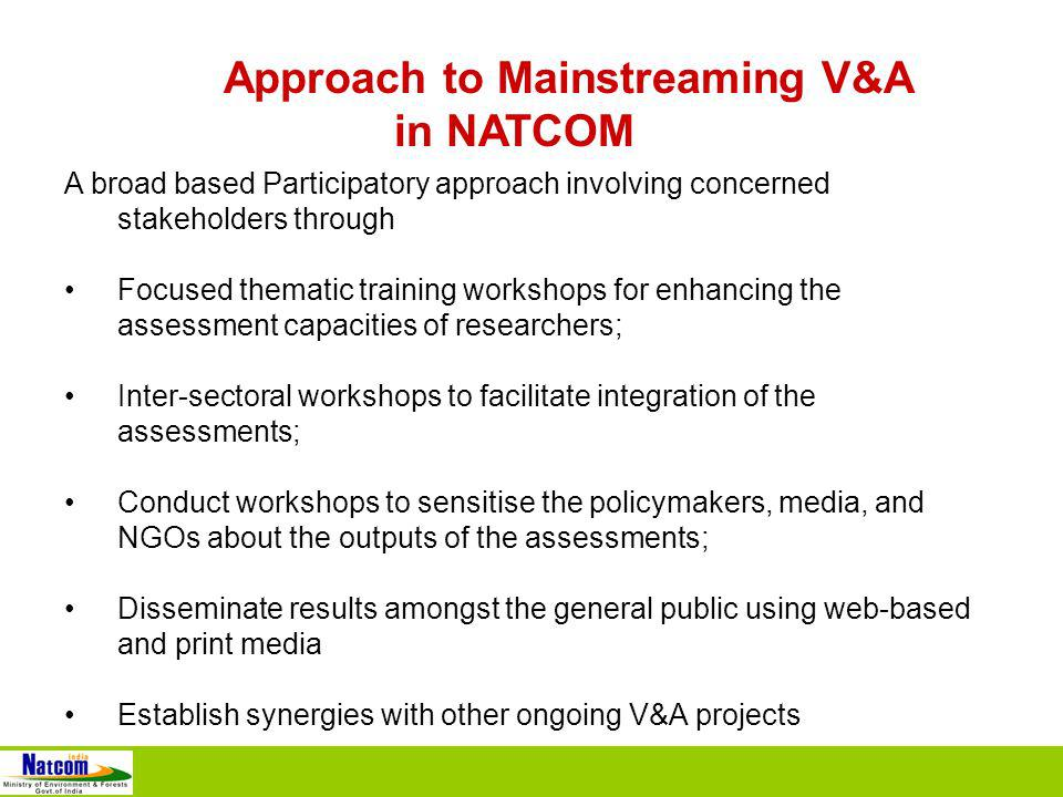Approach to Mainstreaming V&A in NATCOM A broad based Participatory approach involving concerned stakeholders through Focused thematic training workshops for enhancing the assessment capacities of researchers; Inter-sectoral workshops to facilitate integration of the assessments; Conduct workshops to sensitise the policymakers, media, and NGOs about the outputs of the assessments; Disseminate results amongst the general public using web-based and print media Establish synergies with other ongoing V&A projects