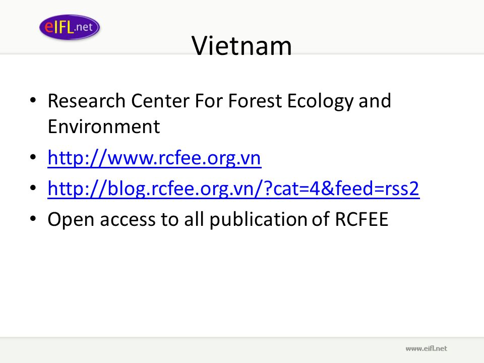Vietnam Research Center For Forest Ecology and Environment http://www.rcfee.org.vn http://blog.rcfee.org.vn/ cat=4&feed=rss2 Open access to all publication of RCFEE