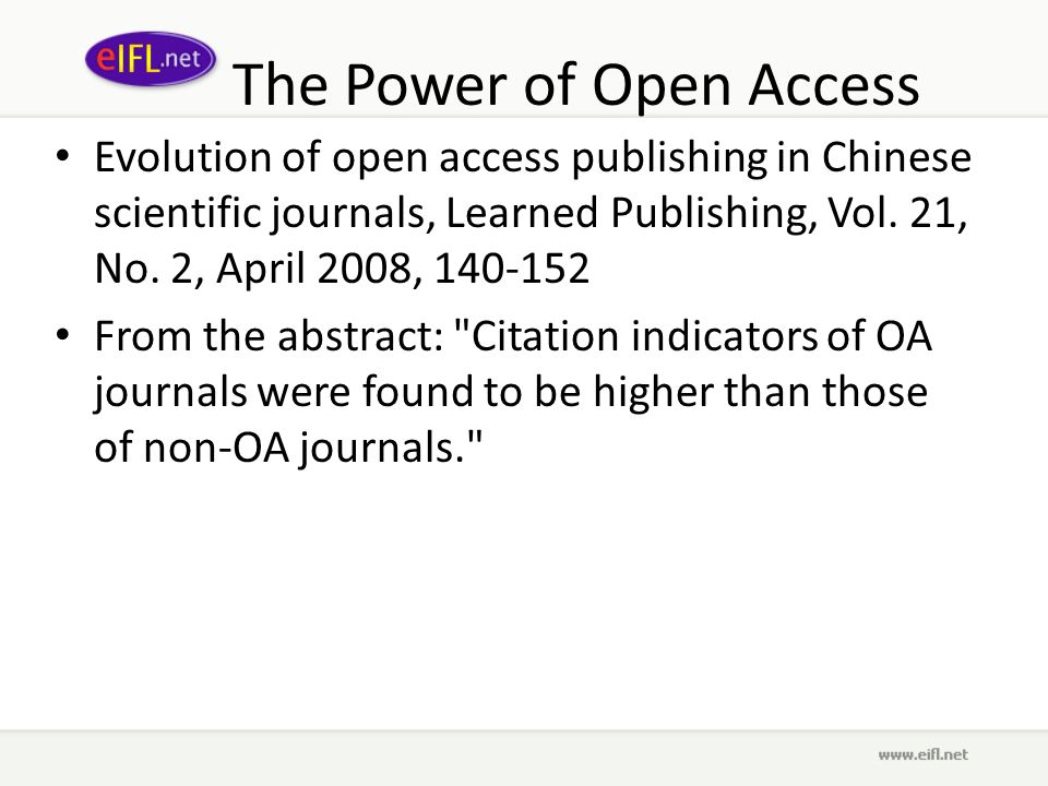 The Power of Open Access Evolution of open access publishing in Chinese scientific journals, Learned Publishing, Vol.