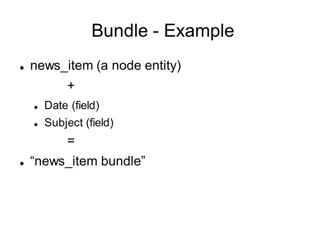 Bundle - Example news_item (a node entity) + Date (field) Subject (field) = news_item bundle