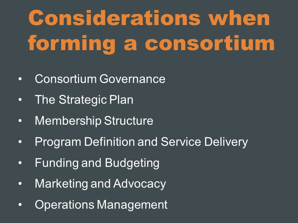 Considerations when forming a consortium Consortium Governance The Strategic Plan Membership Structure Program Definition and Service Delivery Funding