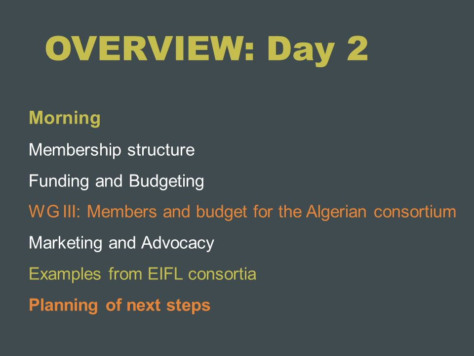 OVERVIEW: Day 2 Morning Membership structure Funding and Budgeting WG III: Members and budget for the Algerian consortium Marketing and Advocacy Examp