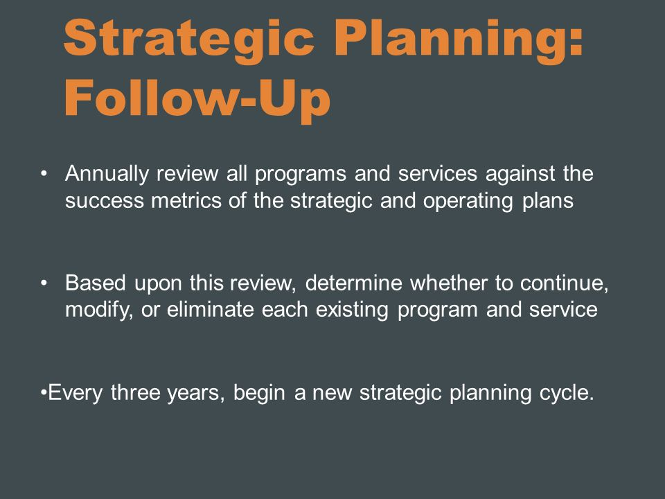 Strategic Planning: Follow-Up Annually review all programs and services against the success metrics of the strategic and operating plans Based upon th