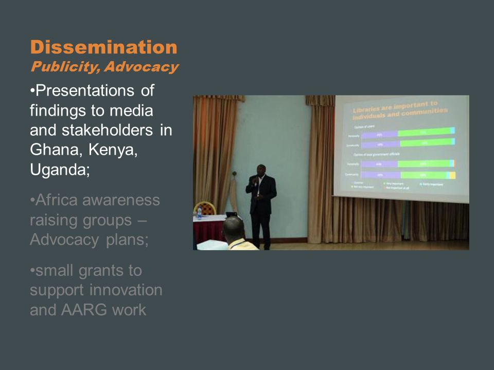 Dissemination Publicity, Advocacy Presentations of findings to media and stakeholders in Ghana, Kenya, Uganda; Africa awareness raising groups – Advoc
