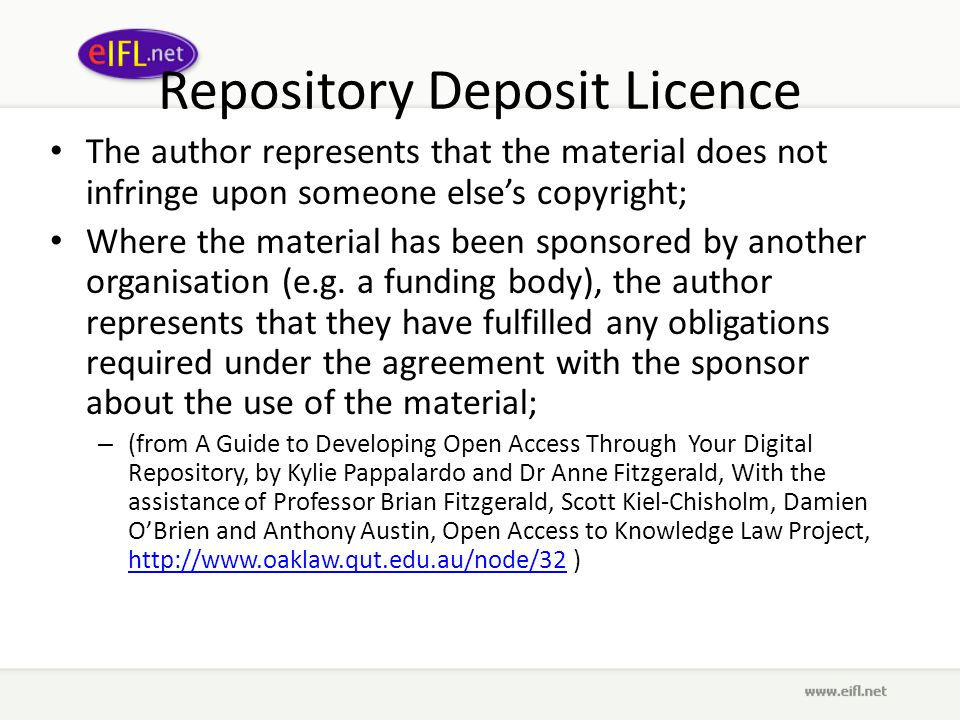 Repository Deposit Licence The author represents that the material does not infringe upon someone elses copyright; Where the material has been sponsored by another organisation (e.g.