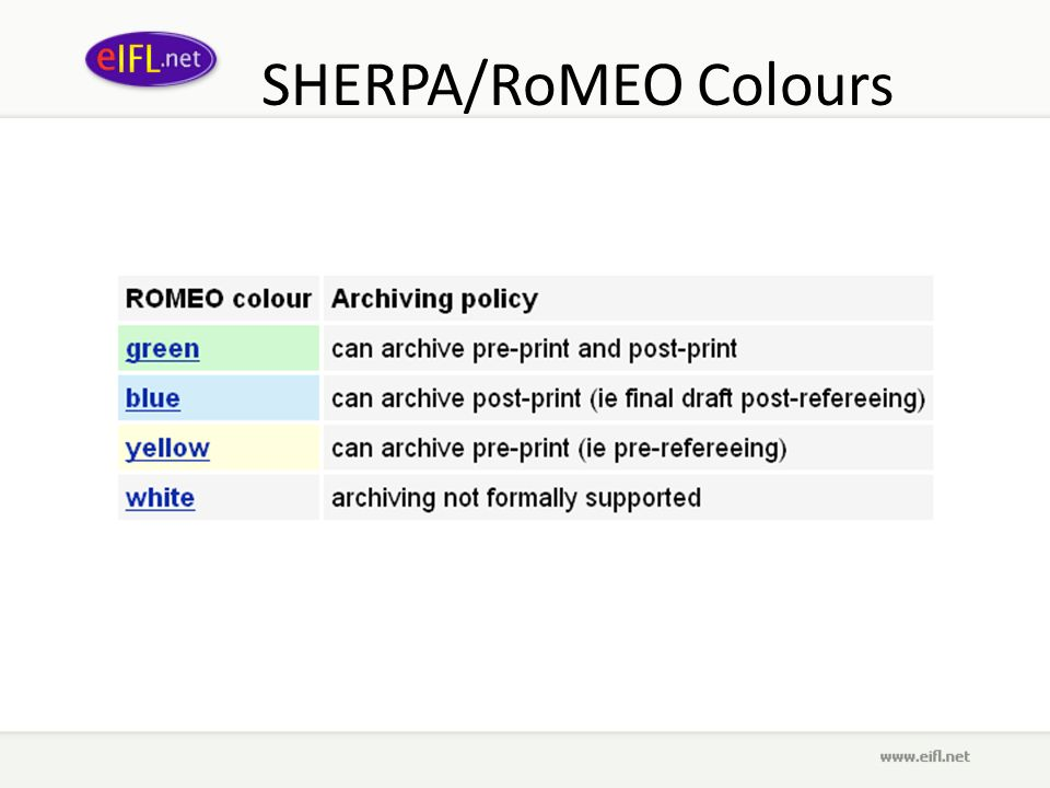 SHERPA/RoMEO Colours