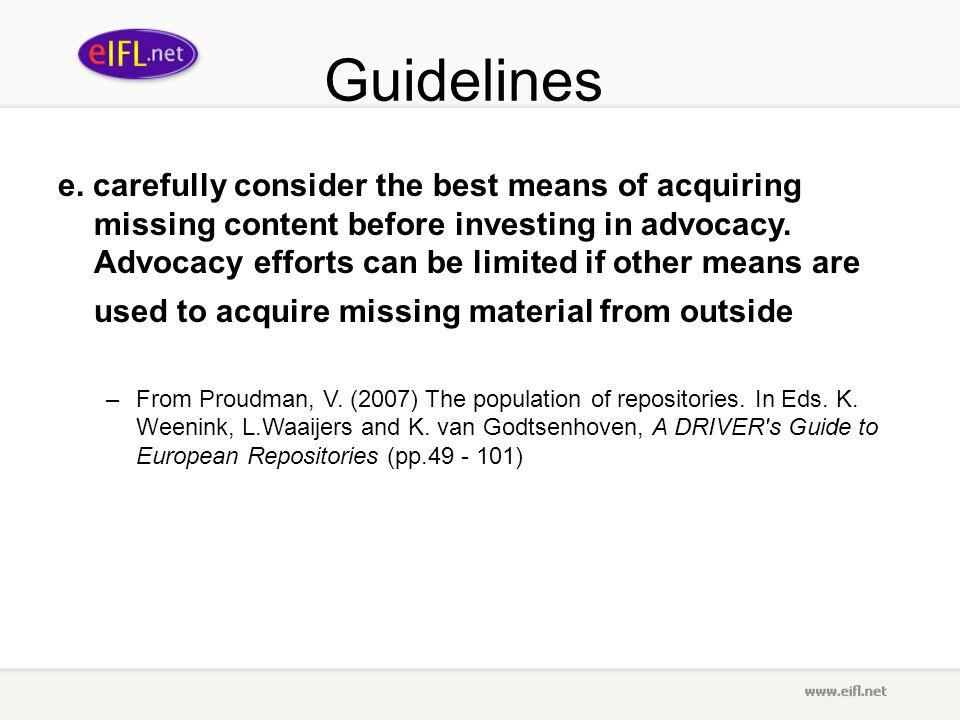 Guidelines e.