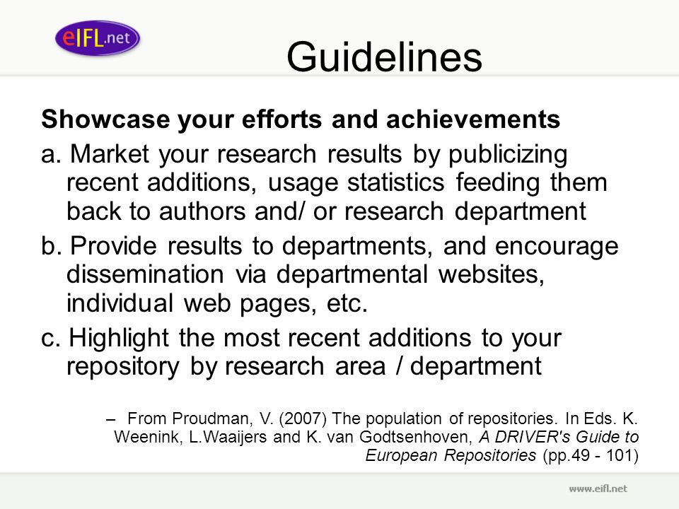 Guidelines Showcase your efforts and achievements a.