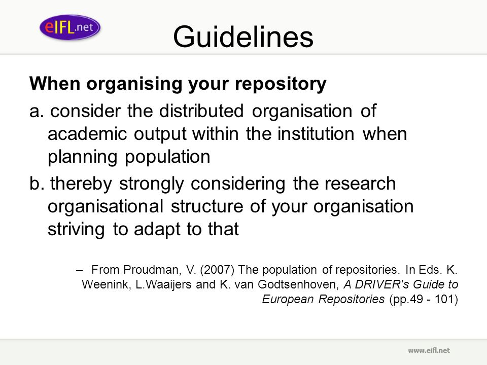 Guidelines When organising your repository a.