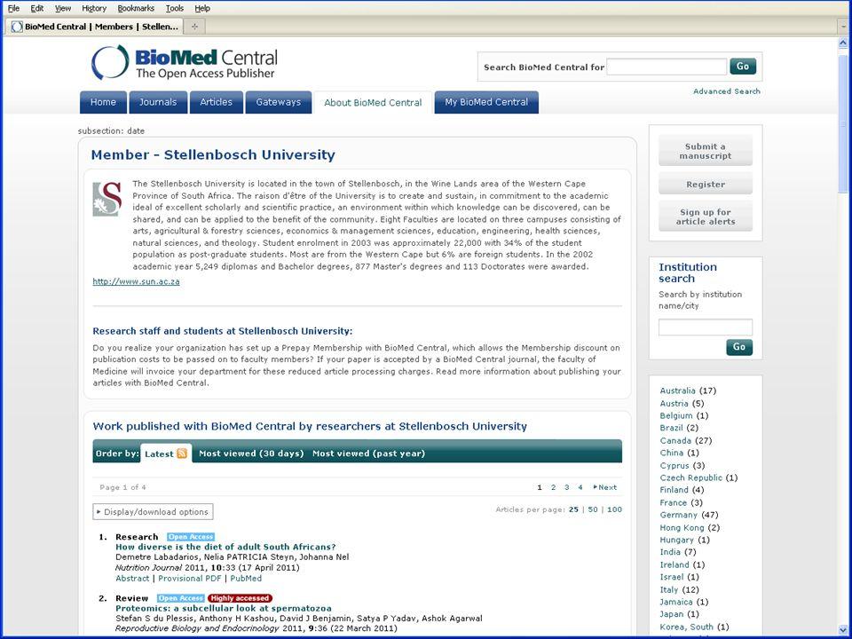 Member web page screen shot