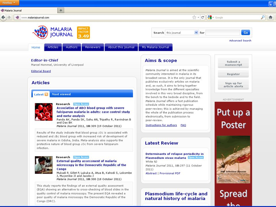 Malaria Journal homepage
