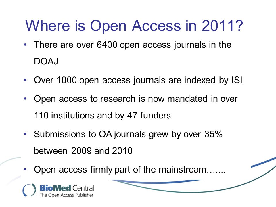 Where is Open Access in 2011.