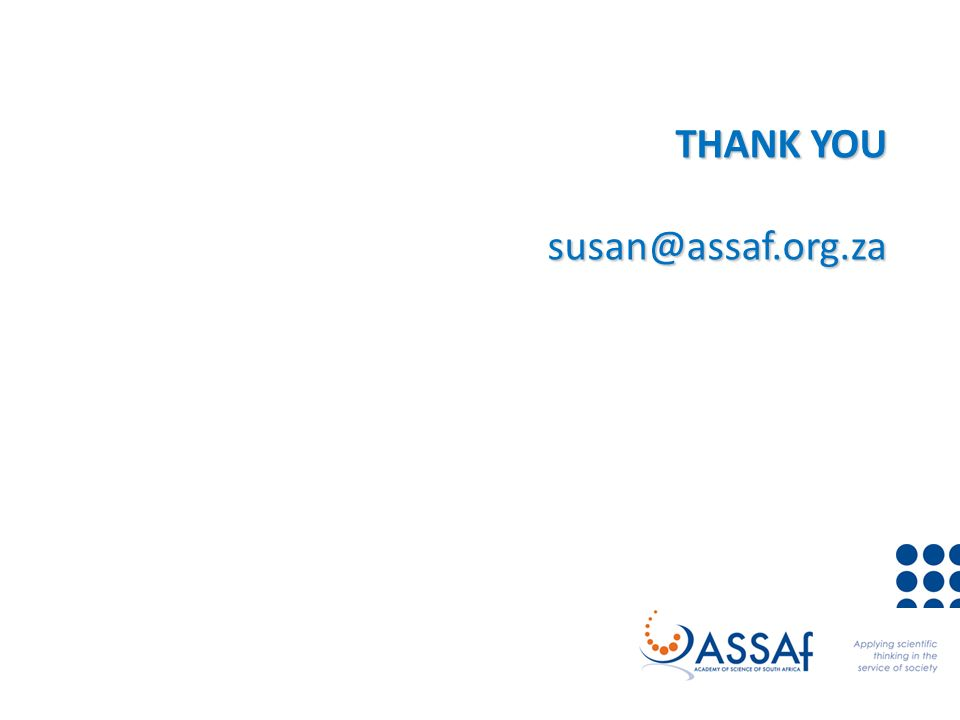THANK YOU susan@assaf.org.za