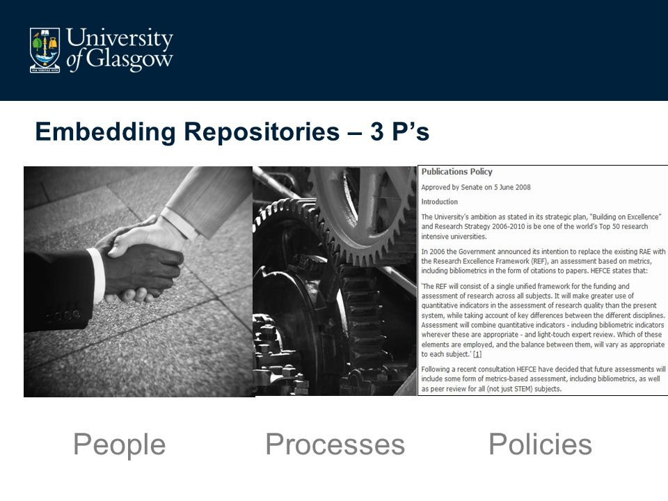 Embedding Repositories – 3 Ps PeoplePoliciesProcesses