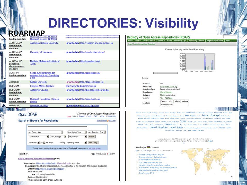 17 DIRECTORIES: Visibility ROARMAP