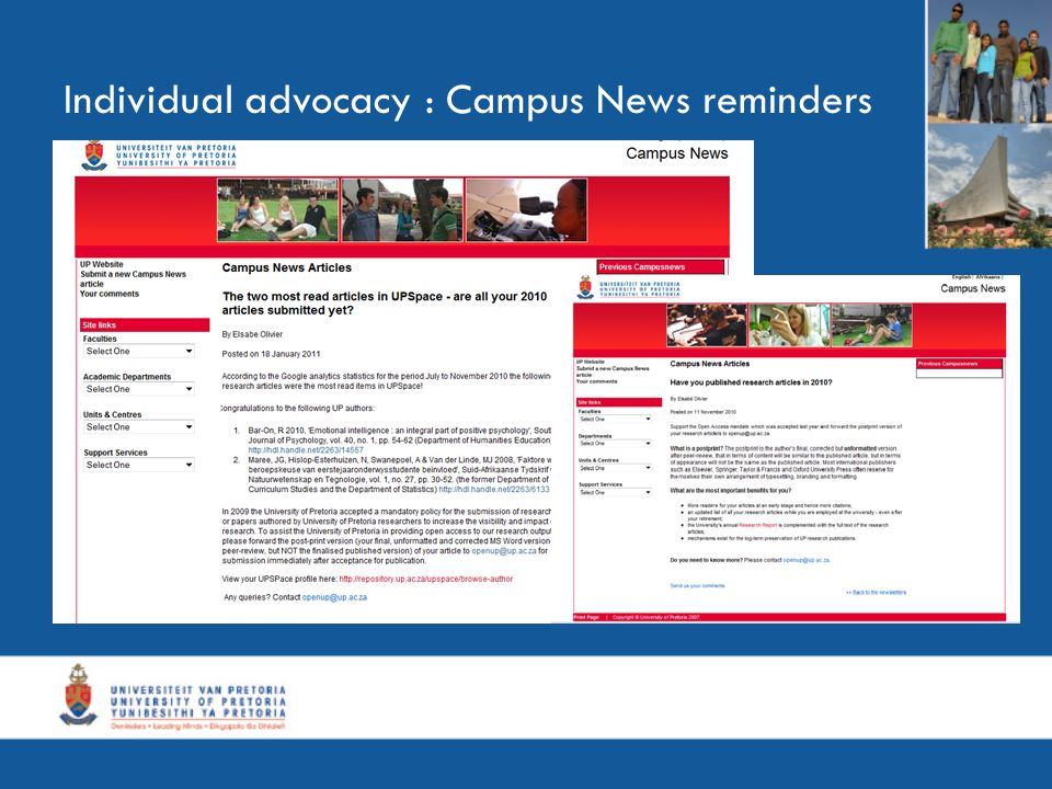 Individual advocacy : Campus News reminders