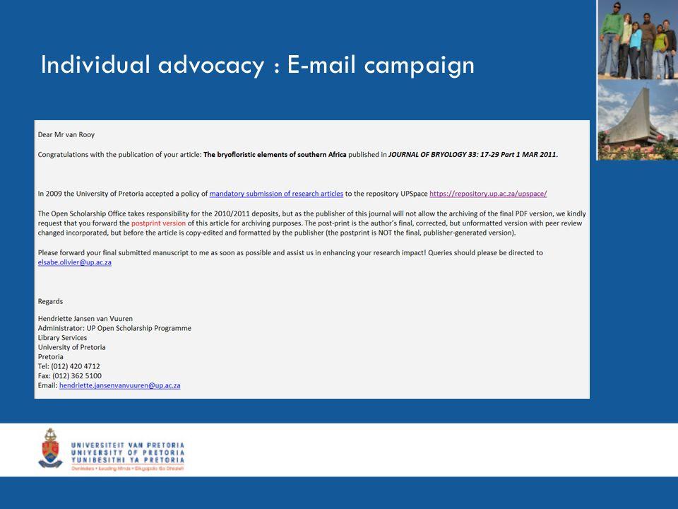 Individual advocacy : E-mail campaign
