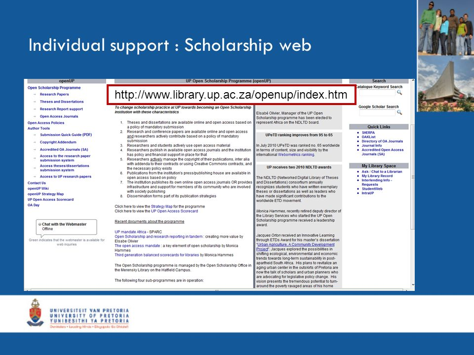 Individual support : Scholarship web