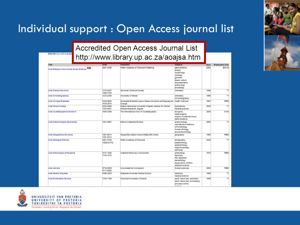 Individual support : Open Access journal list Accredited Open Access Journal List