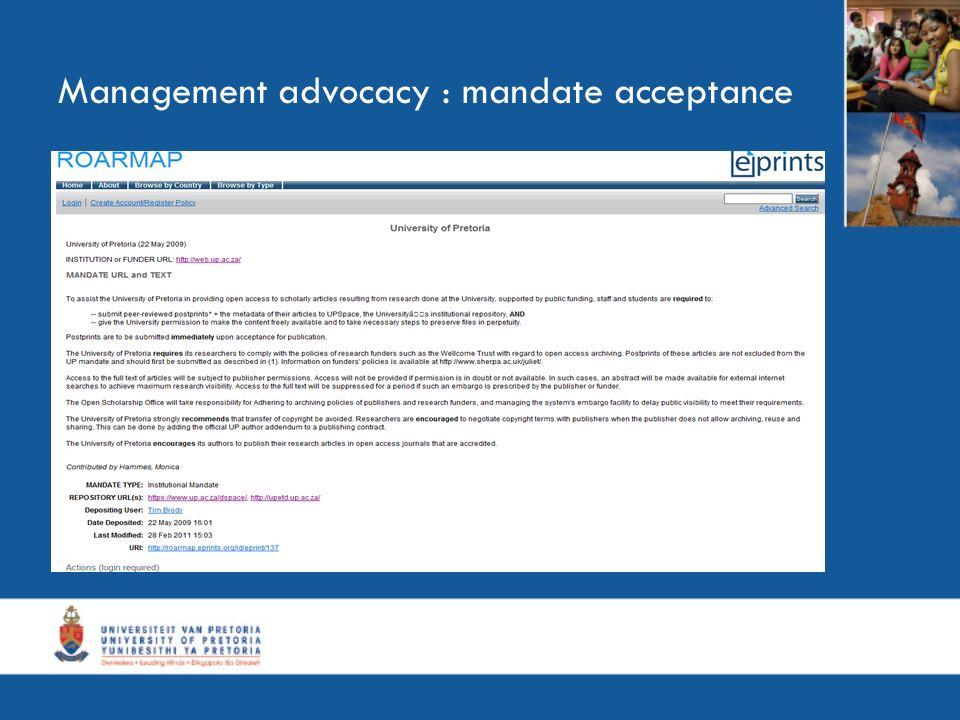 Management advocacy : mandate acceptance