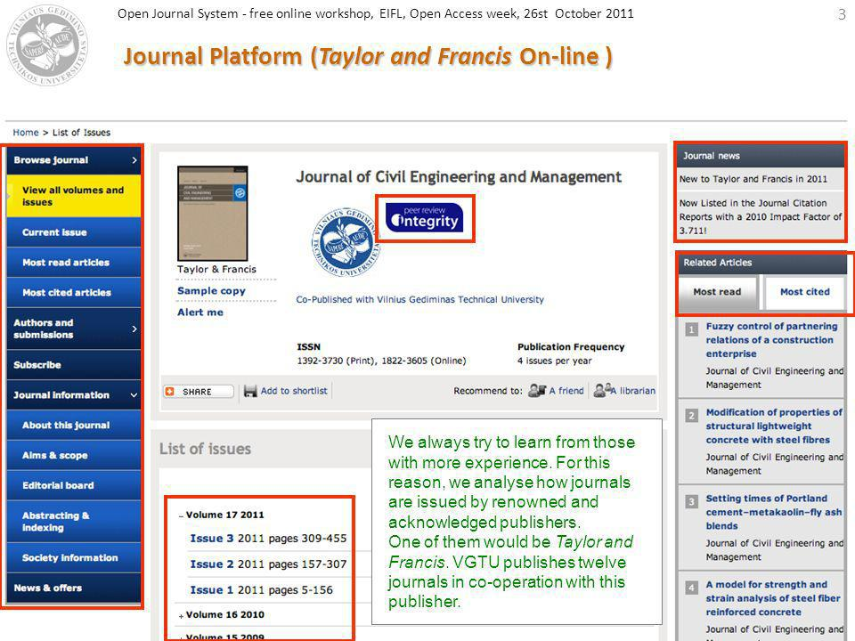 3 Journal Platform (Taylor and Francis On-line ) We always try to learn from those with more experience. For this reason, we analyse how journals are