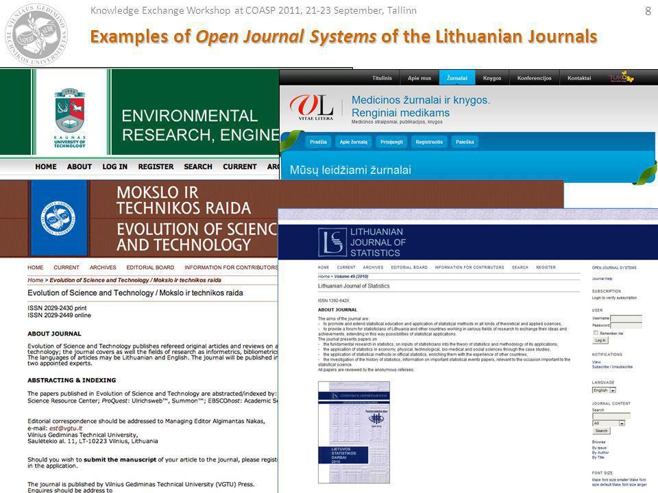 19 Open Journal System - free online workshop, EIFL, Open Access week, 26st October 2011