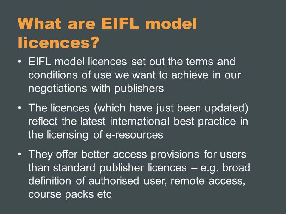 What are EIFL model licences.