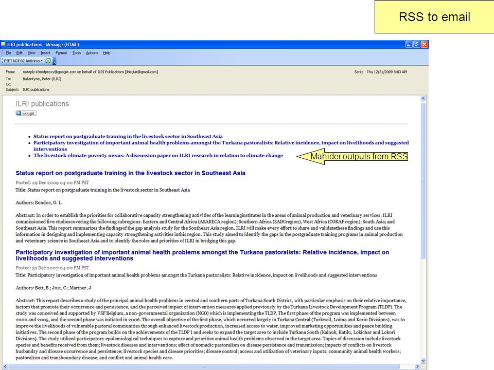 RSS to email Mahider outputs from RSS