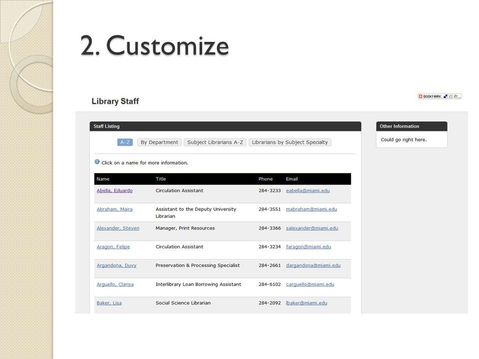 2. Customize