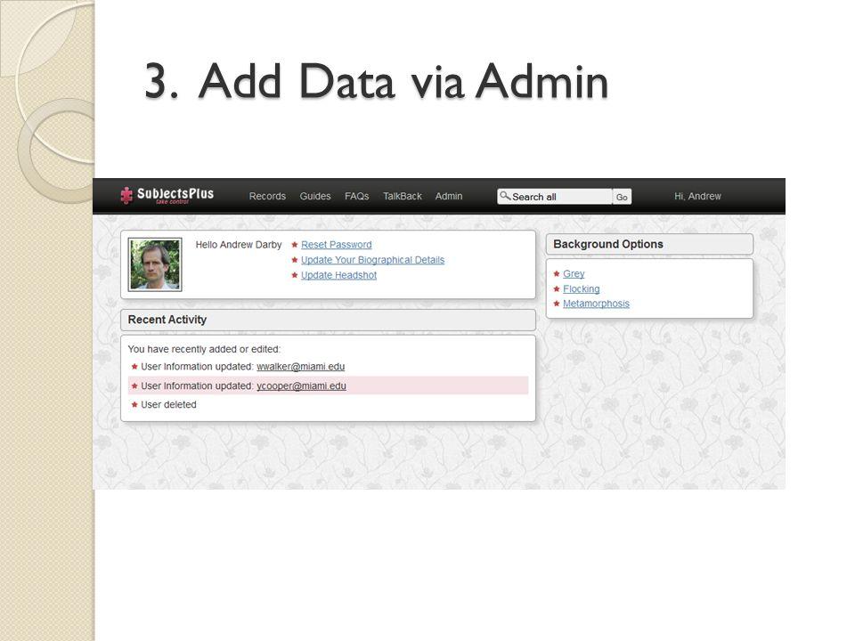 3. Add Data via Admin