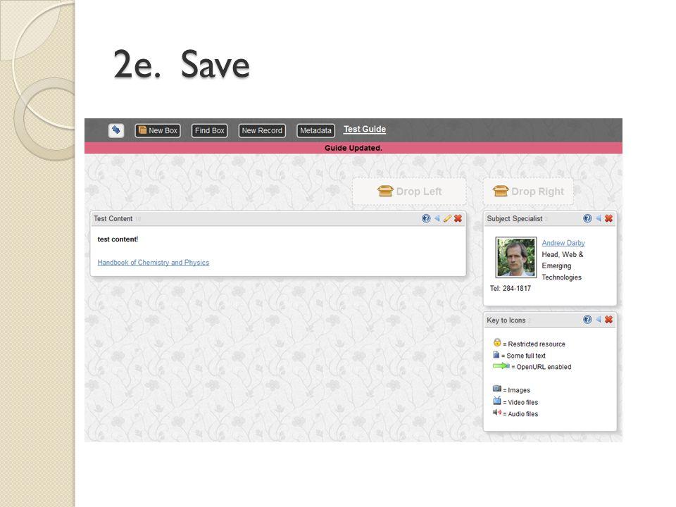 2e. Save