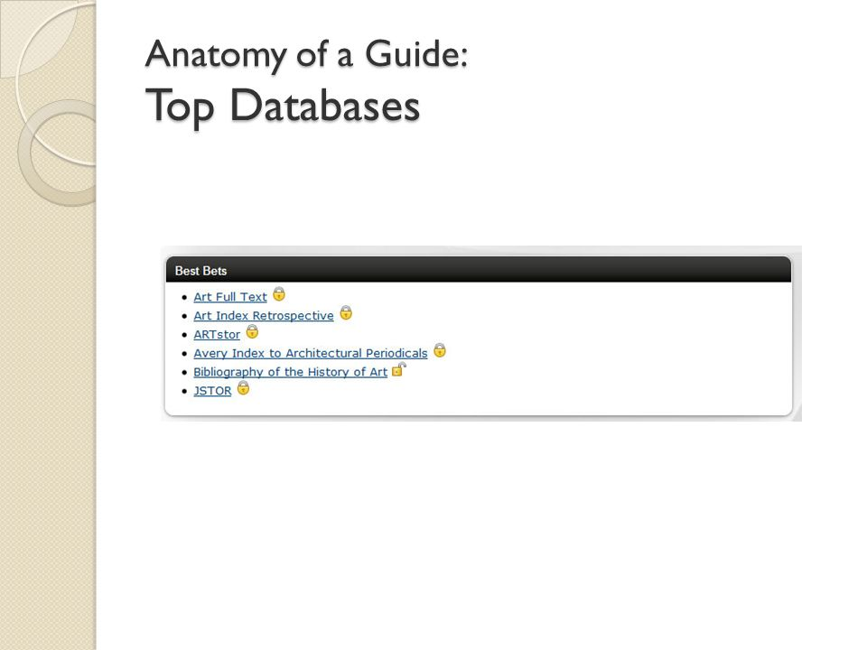 Anatomy of a Guide: Top Databases