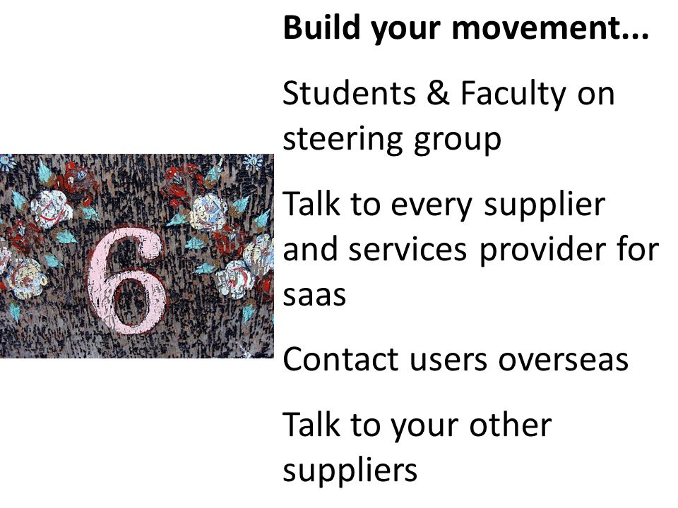 Build your movement... Students & Faculty on steering group Talk to every supplier and services provider for saas Contact users overseas Talk to your