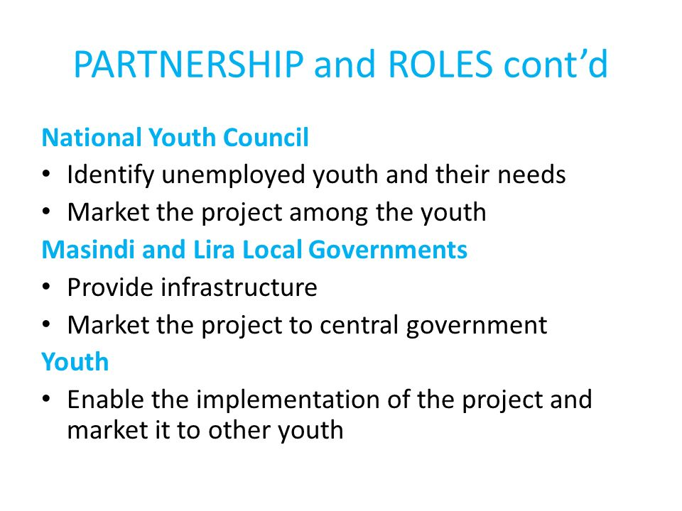 PARTNERSHIP and ROLES contd National Youth Council Identify unemployed youth and their needs Market the project among the youth Masindi and Lira Local Governments Provide infrastructure Market the project to central government Youth Enable the implementation of the project and market it to other youth