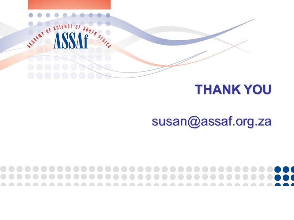 THANK YOU susan@assaf.org.za