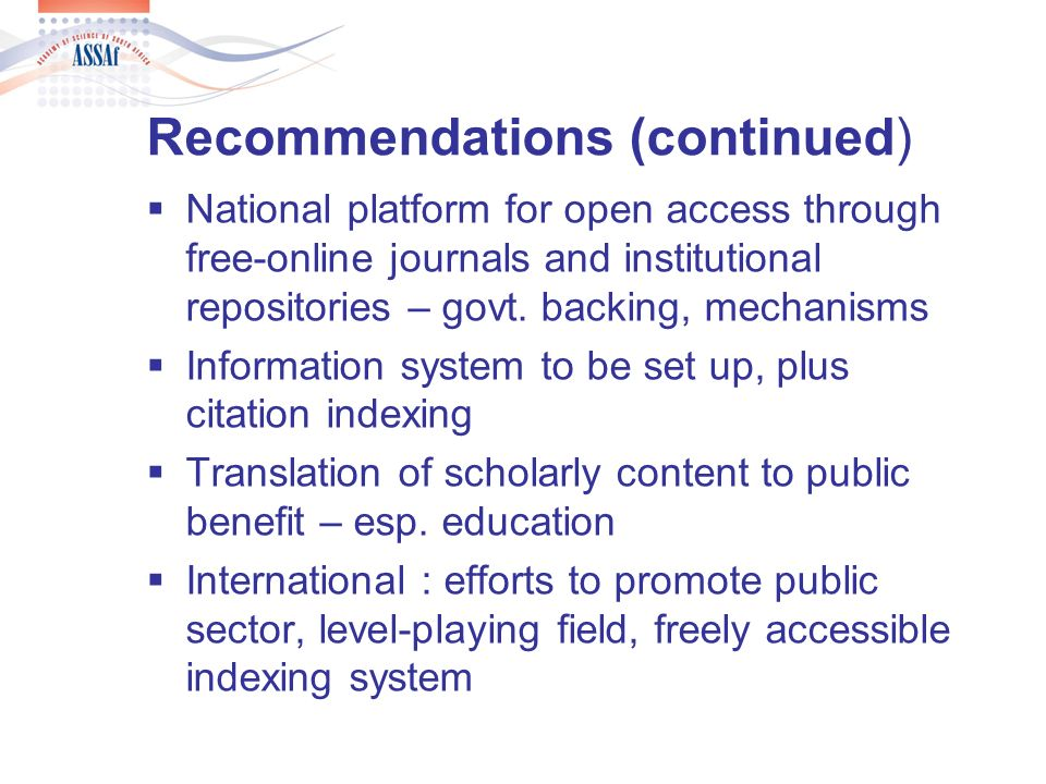 Impact of local scholarly platform Discipline-grouped peer review by ASSAf Panels – cycles – recommendations for govt.