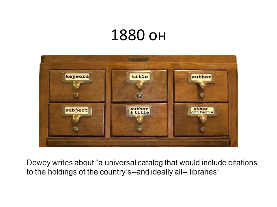1880 он Dewey writes about a universal catalog that would include citations to the holdings of the countrys--and ideally all-- libraries