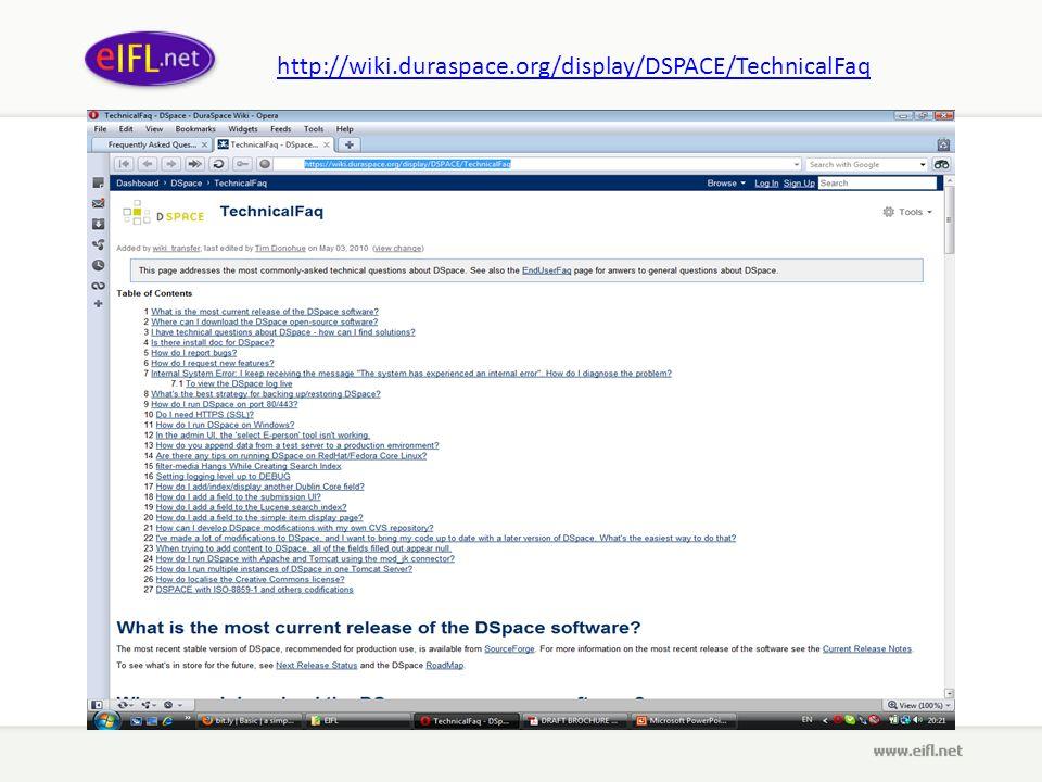 http://wiki.duraspace.org/display/DSPACE/TechnicalFaq