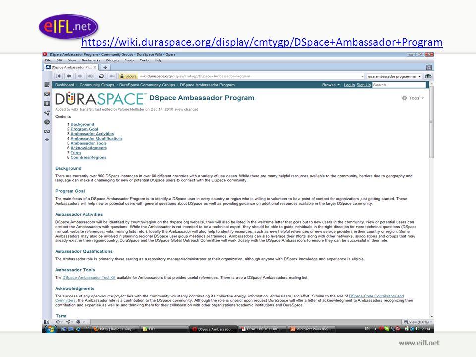 https://wiki.duraspace.org/display/cmtygp/DSpace+Ambassador+Program