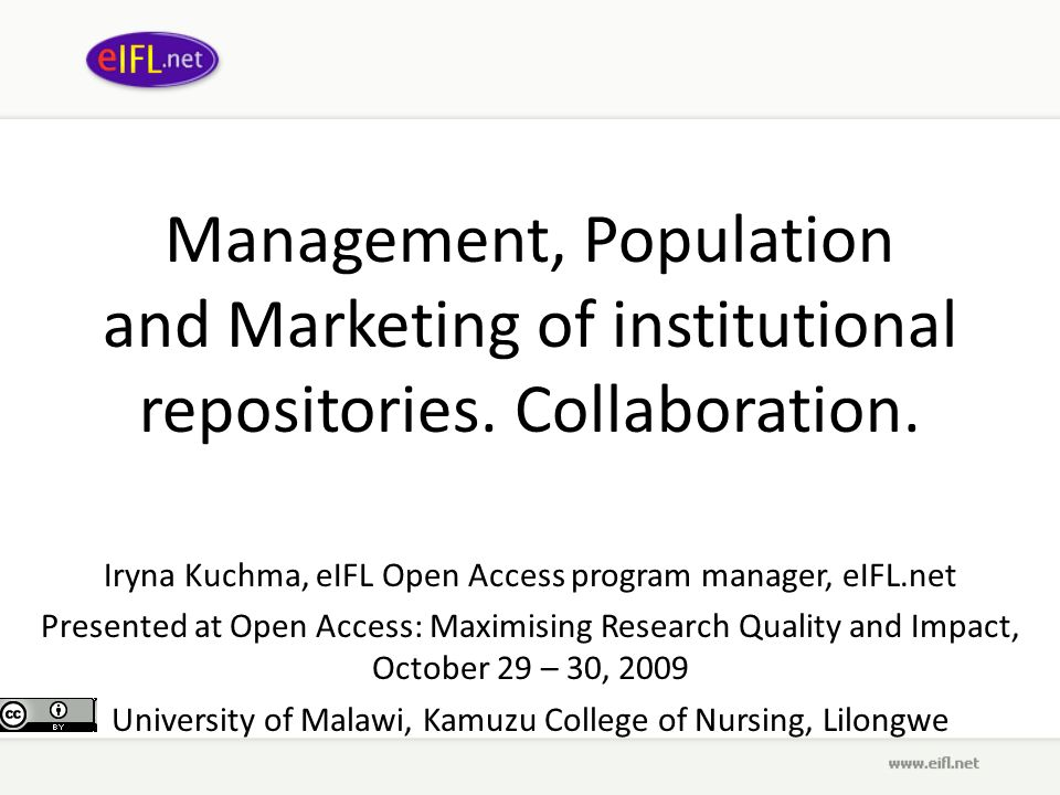 Management, Population and Marketing of institutional repositories.
