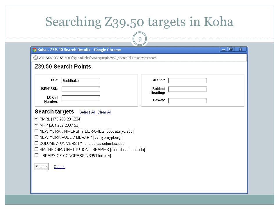 Search result in Koha Z39.50 client 10