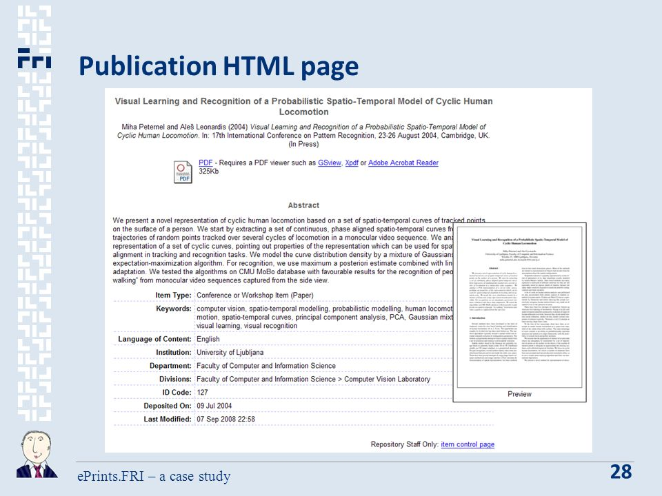 ePrints.FRI – a case study 28 Publication HTML page