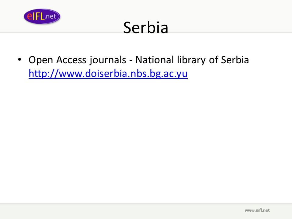 Serbia Open Access journals - National library of Serbia
