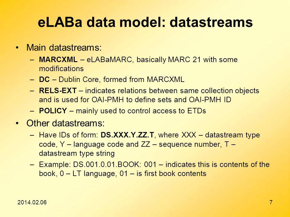 2014.02.067 eLABa data model: datastreams Main datastreams: –MARCXML – eLABaMARC, basically MARC 21 with some modifications –DC – Dublin Core, formed