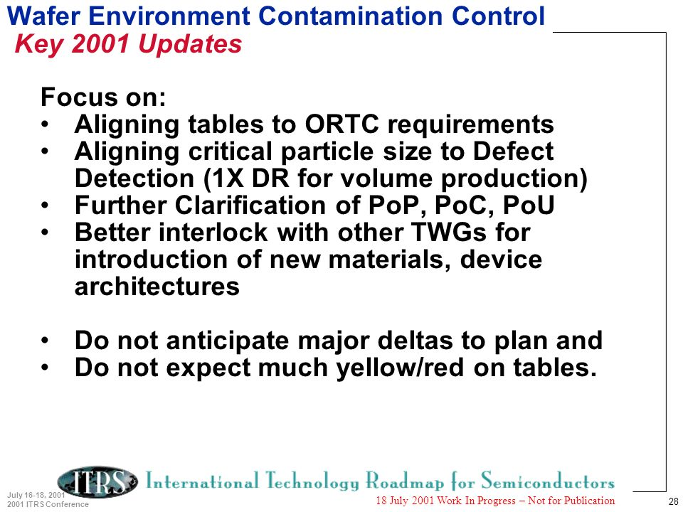 28 July 16-18, 2001 2001 ITRS Conference 18 July 2001 Work In Progress – Not for Publication Wafer Environment Contamination Control Key 2001 Updates