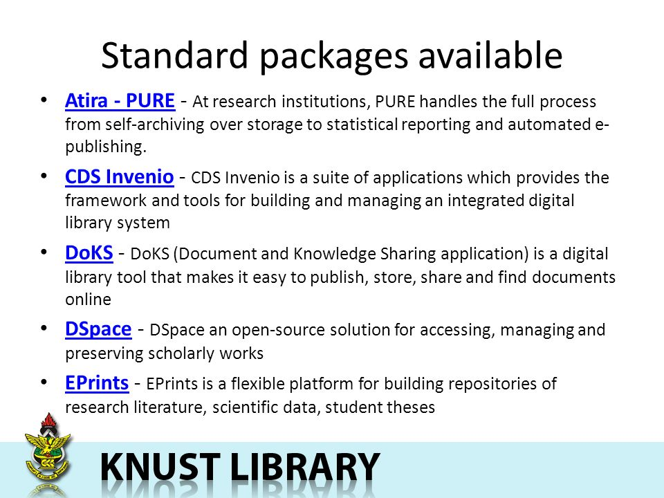 Standard packages available Atira - PURE - At research institutions, PURE handles the full process from self-archiving over storage to statistical reporting and automated e- publishing.