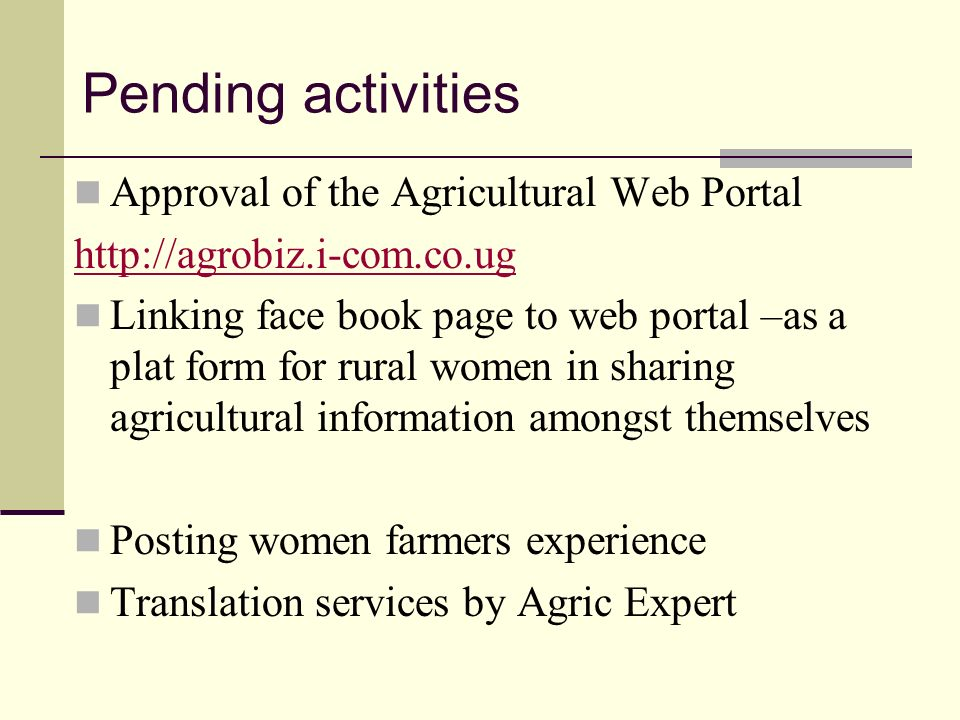Pending activities Approval of the Agricultural Web Portal http://agrobiz.i-com.co.ug Linking face book page to web portal –as a plat form for rural w