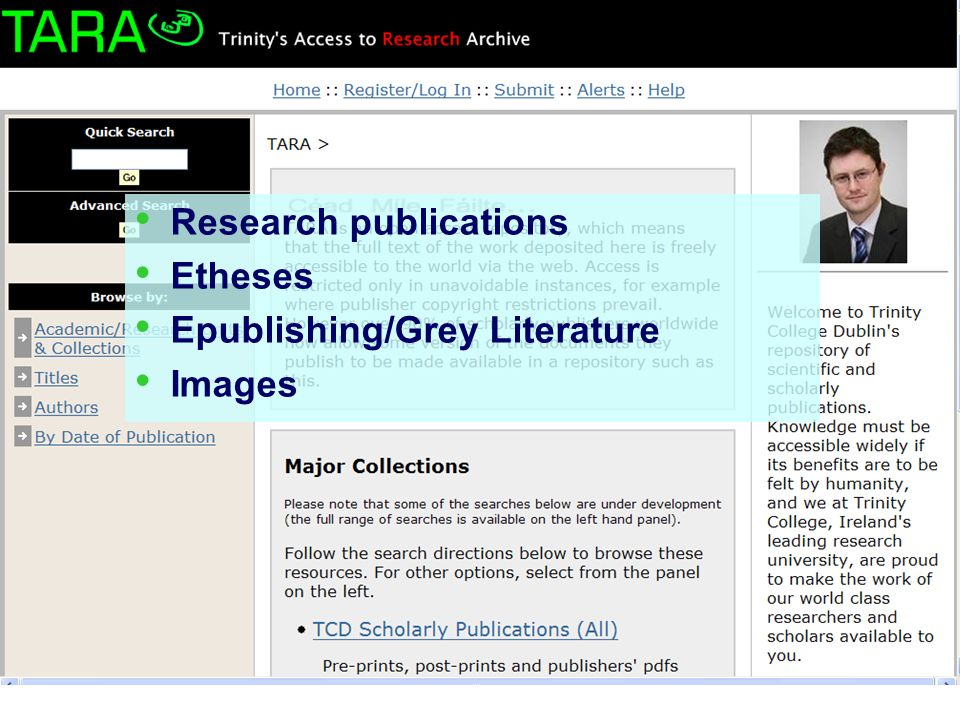 Research publications Etheses Epublishing/Grey Literature Images